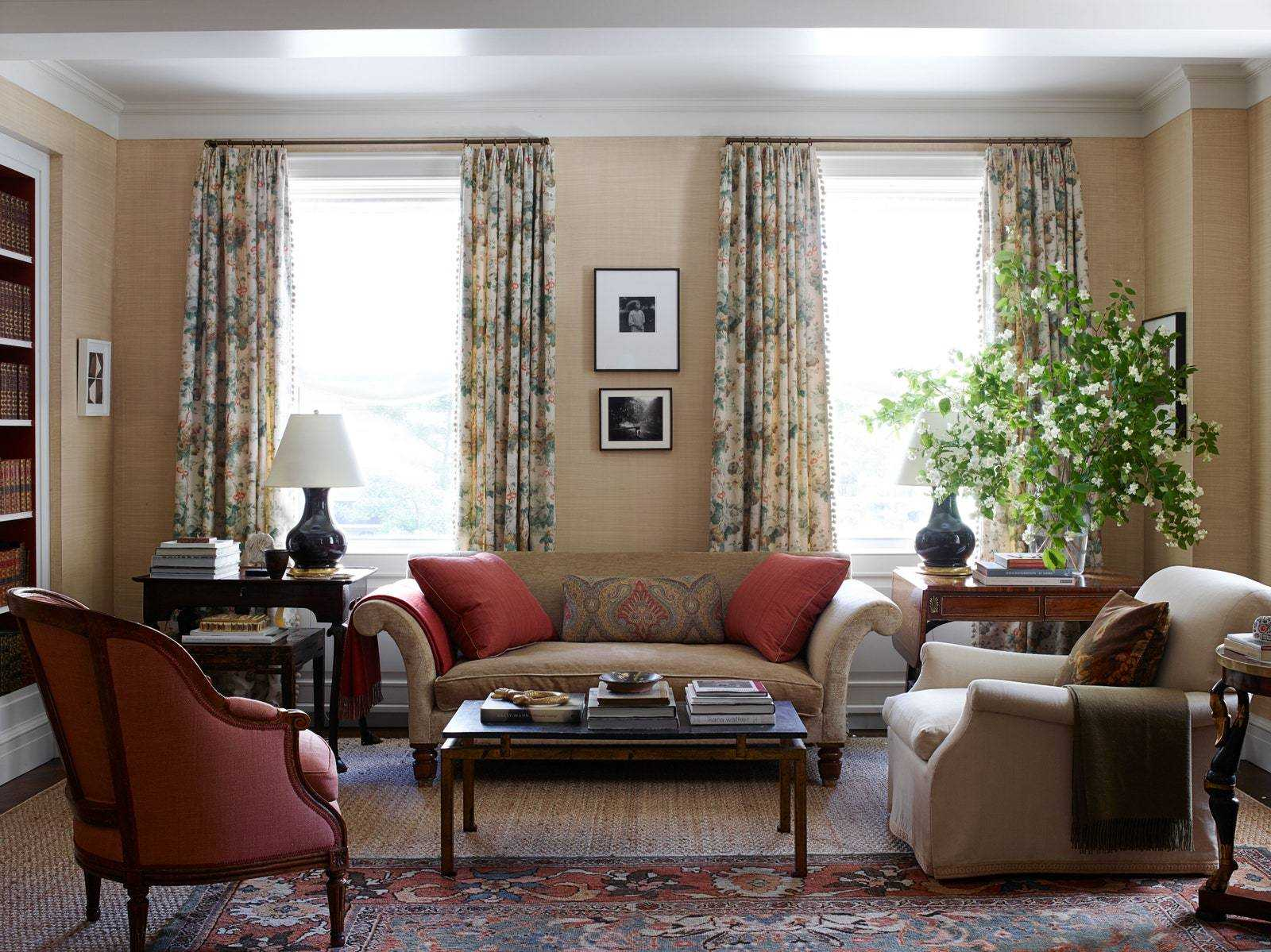 In the living room, a Brunschwig Fils Chintz amplifier at windows.p